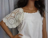 Upcycled Tshirt Doily Repurposed Tee White Lace Doily Boho Chic Style Altered T shirt  Small Medium. $35.00, via Etsy.