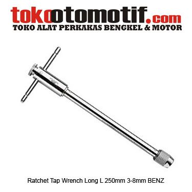 Ratchet Tap Wrench Long L 250mm 3-8mm BENZ - pegangan/handel Racet Tap  Kode : 130139 Nama : Ratchet Tap Wrench Long L Merk : BENZ Tipe : 250mm 3-8mm Berat Kirim : 1 kg  #RatchetTapWrenchLong #handtap #tapdies #onlineshop #onlineshoppingindonesia #tokootomotif #tokoonline #belionline