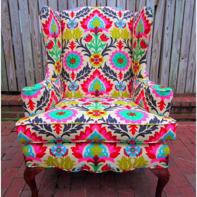 Love this chairs colors!: Living Rooms, My Rooms, Patterns Chairs, Fabrics, House, Colors Chairs, Accent Chairs, Girls Rooms, Bright Colors