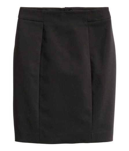 Check this out! Short, fitted skirt in a stretch weave with a concealed zip and slit at the back. Lined. - Visit hm.com to see more.
