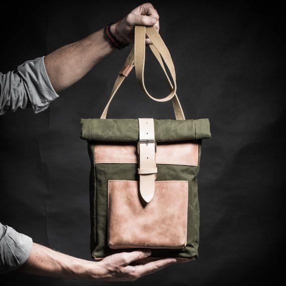 Venta 35% lona y cuero mensajero bolsa de bolso de por KrukGarage