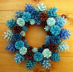 """Handmade Natural Earthy Shades of Blue Pine Cone Wreath Center Piece 15"""""""