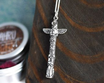 Collar de plata esterlina de tótem; fina plata, joyería, indio nativo, Cuervo, animal, americano indio, símbolo, para ella, cadena, espiritual