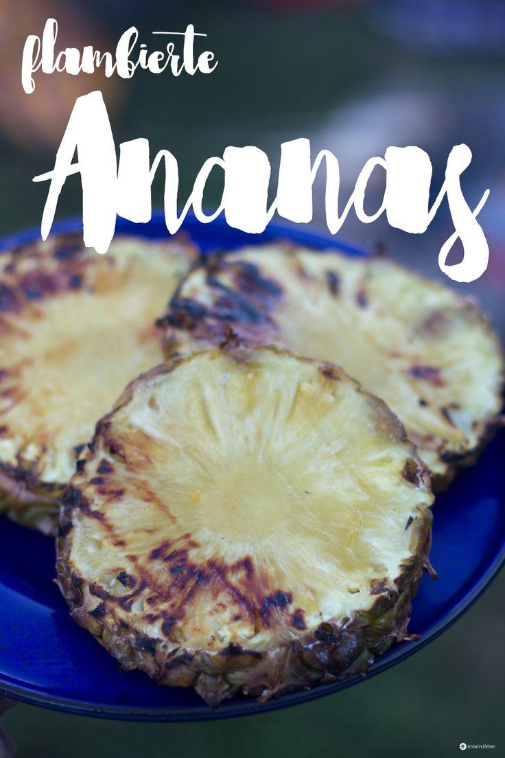 Mögt ihr auch so gerne flambierte Ananas? Das perfekte Dessert für euren Grillabend. Unser Rezept mit Zimt und Rum ist ganz schnell gemacht
