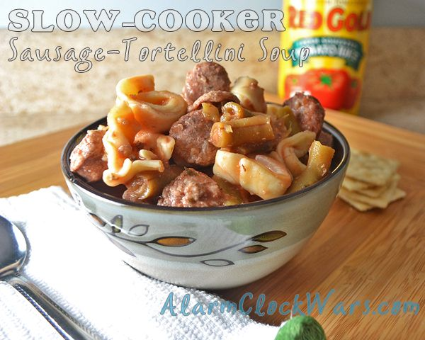 Slow Cooker Sausage Tortellini Soup with #RedGold tomatoes. Make up a big batch in your #crockpot!