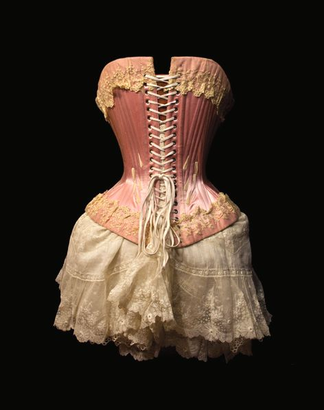 This is a victorian corset which was used to create the perfect hourglasss figure.  This is gorgeous but can't imagine wearing it. No wonder victorian women passed out all the time !... They couldn't breath