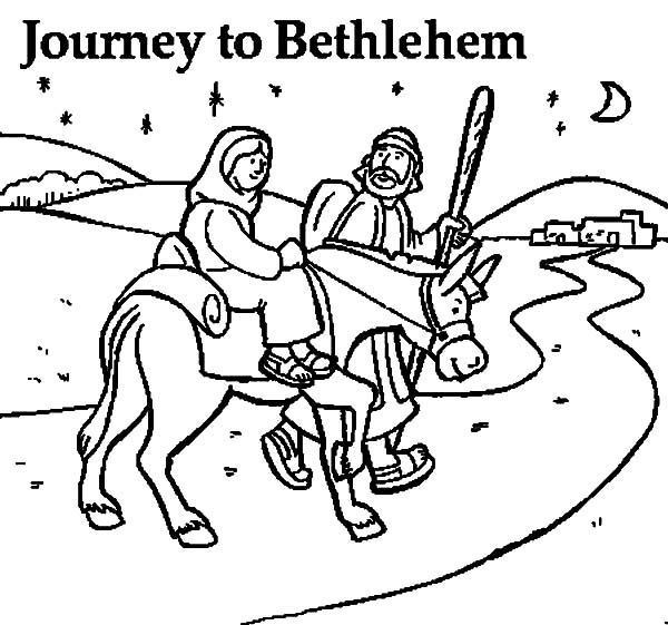 Mary And The Donkey Joseph Journey To Bethlehem Coloring Coloring Pages Bethlehem
