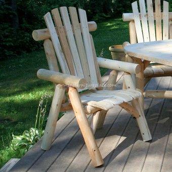 Outdoor Lakeland Cedar Log Dining Chair | Contoured comfort log dining chair | Outdoor & patio log furniture
