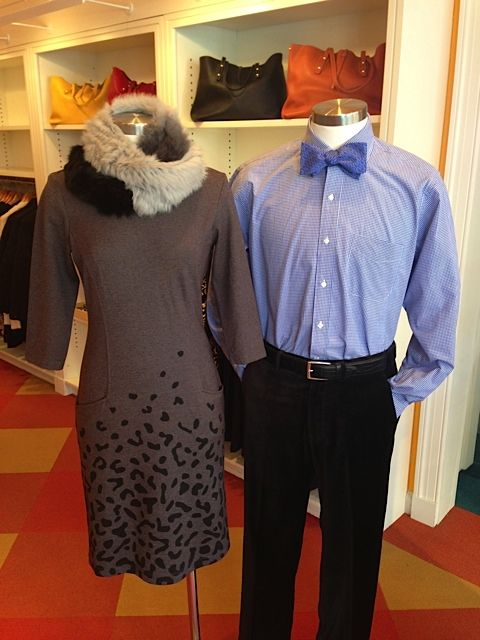 What to Wear October = Dress $195. Fur infinity scarf $165. Black Pants (almost like velvet) $195. Button down $145.