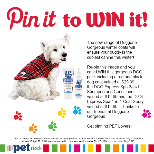 Re-pin this image to one of your boards and you could WIN this dog coat and grooming pack thanks to our friends at Doggone Gorgeous.