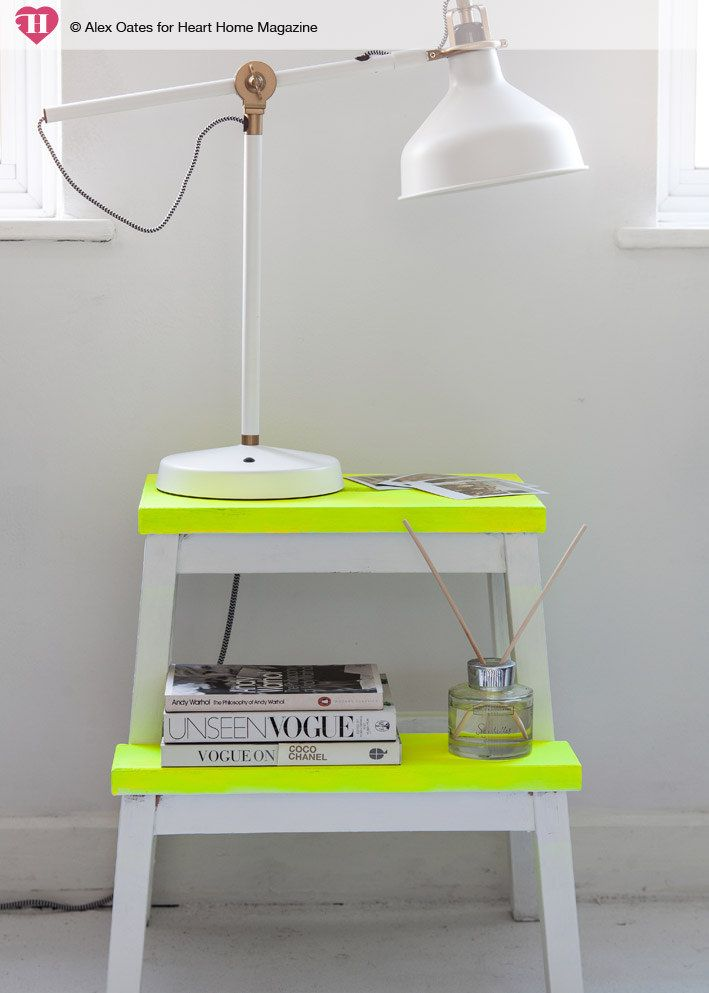 turn an ikea step stool into a nightstand with neon paint - DIY