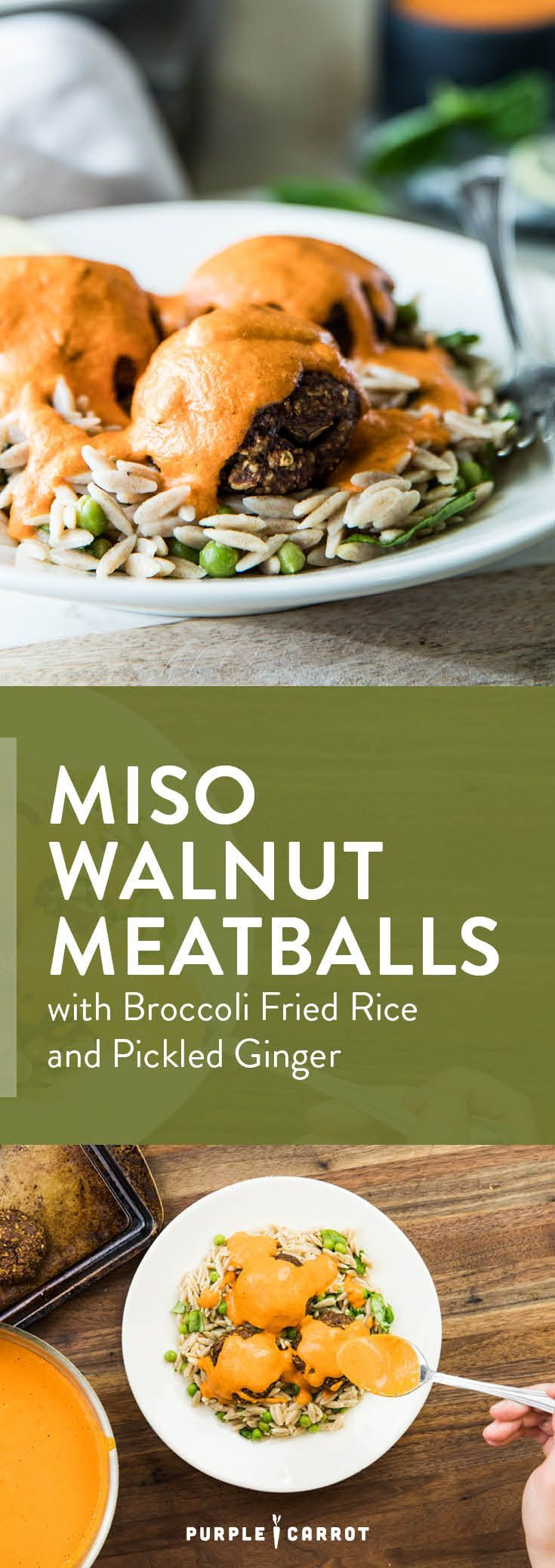 One of our favorite spins on meat-free meatballs. These Miso Walnut Meatballs with Broccoli Fried Rice and Pickled Ginger are the perfect guilt-free dinner for any night of the week. [#vegan #healthy #dairyfree] | Purple Carrot