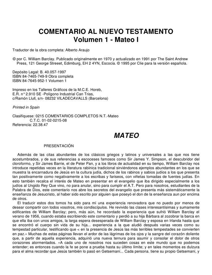 Comentario del Evangelio de Mateo (William Barclay) by ICZUS ICZUS via slideshare