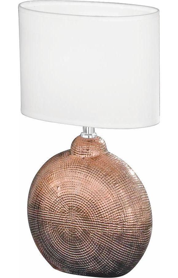 Diese Tischleuchte kommt mit einem Schirm aus Textil und überzeugt durch eine schlichte Farbgebung in Weiß. Ein Hingucker ist außerdem der Fuß aus Keramik in Kupferfarben. Damit ist die Leuchte mit einer Höhe von ca. 53 cm ein echtes Schmuckstück. Das Accessoire verfügt über eineE27-Fassung und ist damit für gängige Lampen geeignet. Die passenden Leuchtmittel können Sie im Online Shop bestellen oder auch in einer unserer Filialen erwerben. Holen Sie sich dieses Schmuckst
