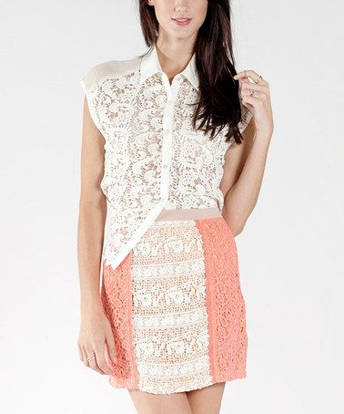 Loving this Coral & Ivory Lace Skirt on #zulily! #zulilyfinds