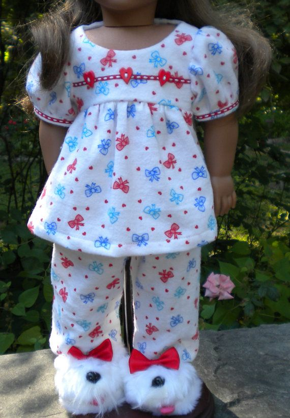 Flannel Pajamas for American Girl or other 18 by mydollyscloset1