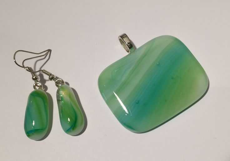Unique fused glass pendant with matching earrings, designed and crafted by spallek glass art.