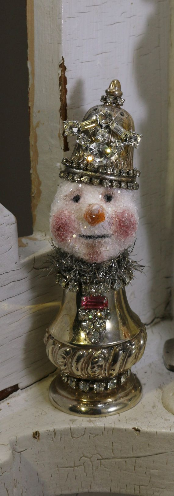 SNOWMAN Assemblage,  Mixed Media Original, Christmas Collectable, Salt Shaker SNOW-LADY, Handmade by Lori Cottam