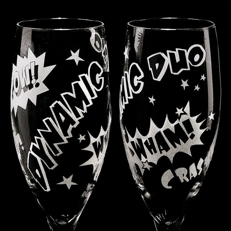 2 Superhero Wedding Champagne Flutes, Unique Champagne Flutes for Comic Book Themed Wedding