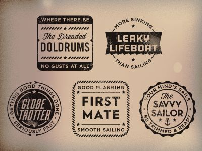 """gorgeous stamps of encouragement. via justin hall.   """"A home-brewed set of nautical-themed rubber stamps. I'm using these this semester to let my students know how each of their projects went. By the way, these feature some tasty typefaces from Lost Type (those guys rock)."""""""