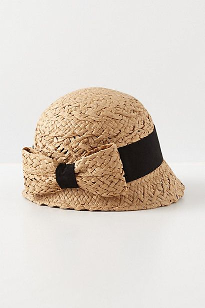 Bowed Straw Cloche from Anthropologie #millinery #judithm #hats Sweet raffia braid cloche.