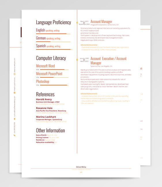 7 best Lynx - Resume Template images on Pinterest Career - design account manager sample resume