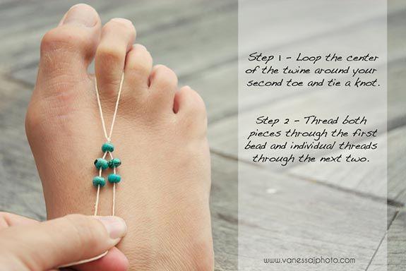 DIY Bohemian Decorating   ... shows us how to make super cute and versatile bohemian foot jewellery