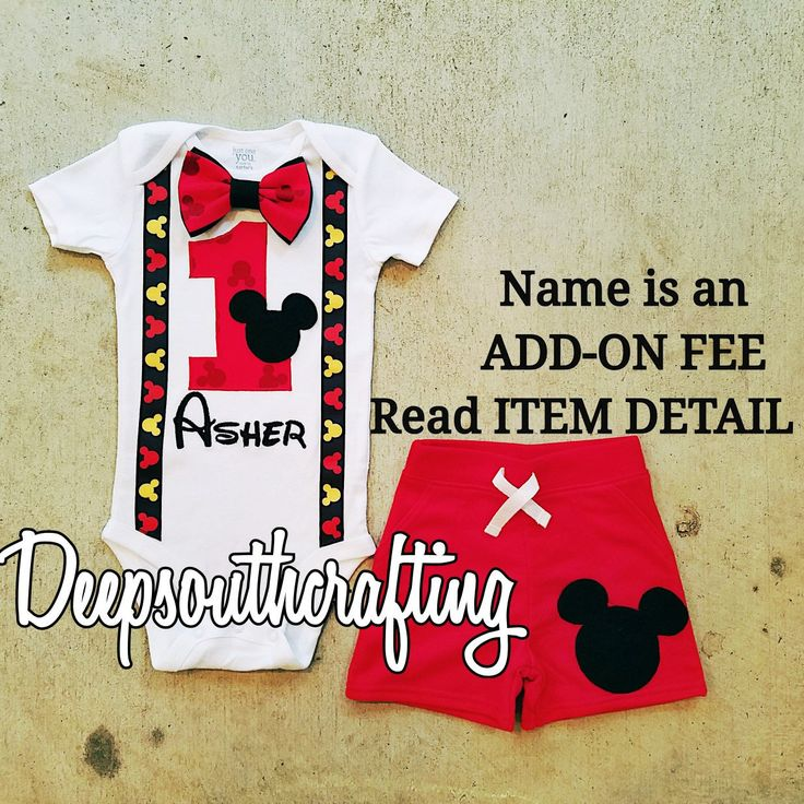 Micley mouse disney first second third birthday onesie bodysuit toddler shirt bow tie suspenders cake smash burlap highchair banner. Custom designed and created by: Deepsouthcrafting