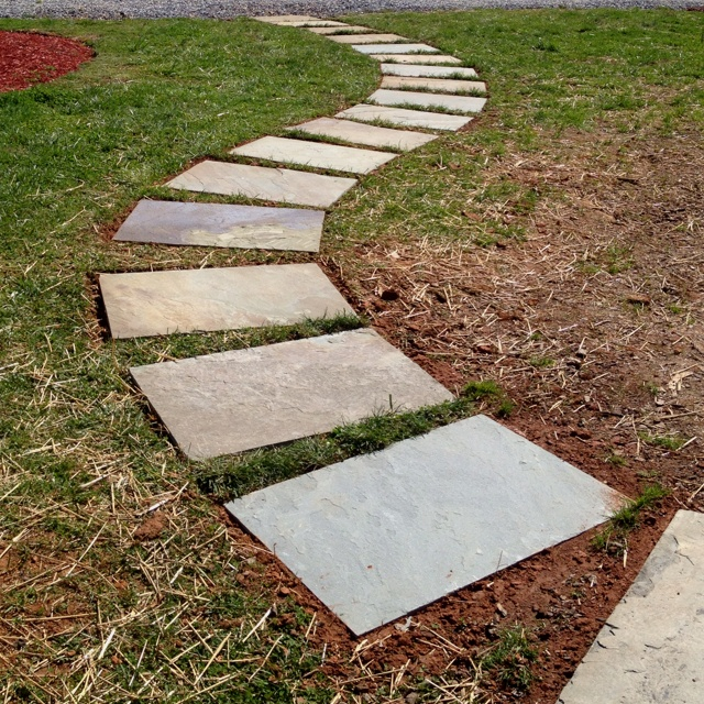 stepping stone walkway i just finished garden yard. Black Bedroom Furniture Sets. Home Design Ideas