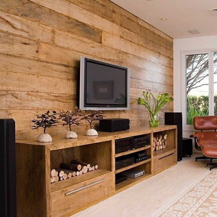 ambiance cocooning, meuble pour tv, mur de plancher, plante verte, bambou, plafond blanc