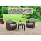 BarcaLounger Braylen 3-Piece Aluminum Patio Conversation Set with Sunbrella Mist Cushions