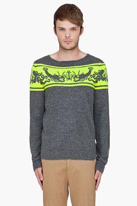 """PAUL SMITH  Grey Fish Pattern Alpaca Sweater - han bruger også at lave et bærestykke med en """"bort"""""""