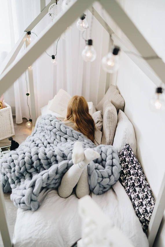 Chunky Knit Kids Blanket 100 Merino Wool Extra Warm