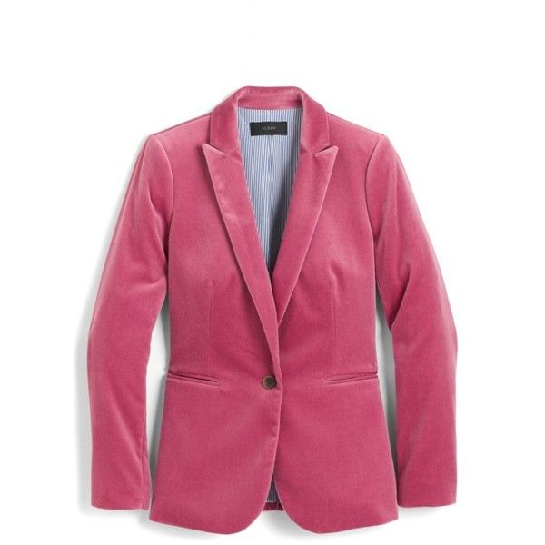 Petite Women's J.crew Parke Velvet Blazer ($168) ❤ liked on Polyvore featuring outerwear, jackets, blazers, dried rose, petite, j crew blazer, j crew jacket, petite blazer jackets, petite jackets and velvet jacket