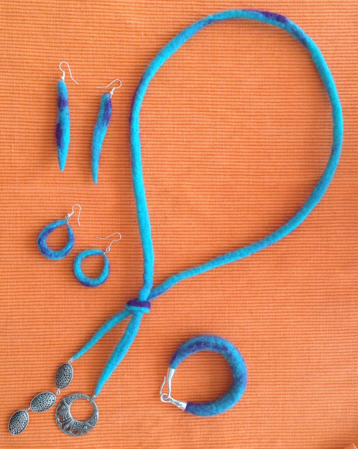 Felt jewelry set made from 100% Merino wool and silver findings.