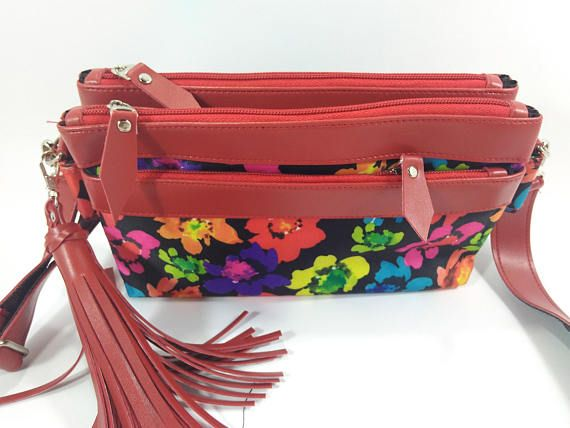 full color bag,small crossbody bags for women, Beautiful Flower Bag , Floral crossbody bag, Zipper Pouch  Three in one Bags ----------   Introducing the Three in one Bags Crossbody Messenger bag. The Three in one Bags features a trip top zipper closure with long messenger strap. It has a fabric interior, there are pockets included. The Trio is made of soft canvas waterproof .  The color of the flowers do not wear off strong and durable.  Detail Bags :  Size : - Long : 9 inc - High : 5,5 inc…