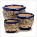 Cobalt Blue Geometric Design Ceramic Flower Pots Set of 3