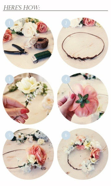 Steps I used to make my flower crown.  I got my supplies from Walmart.  Super easy to make and very inexpensive accessory.