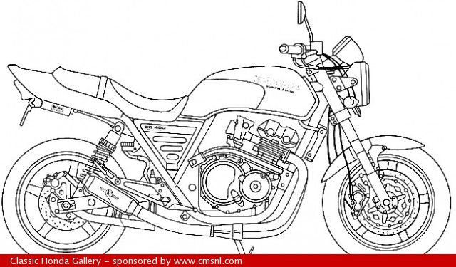 Honda CB400 Super Four technical drawing