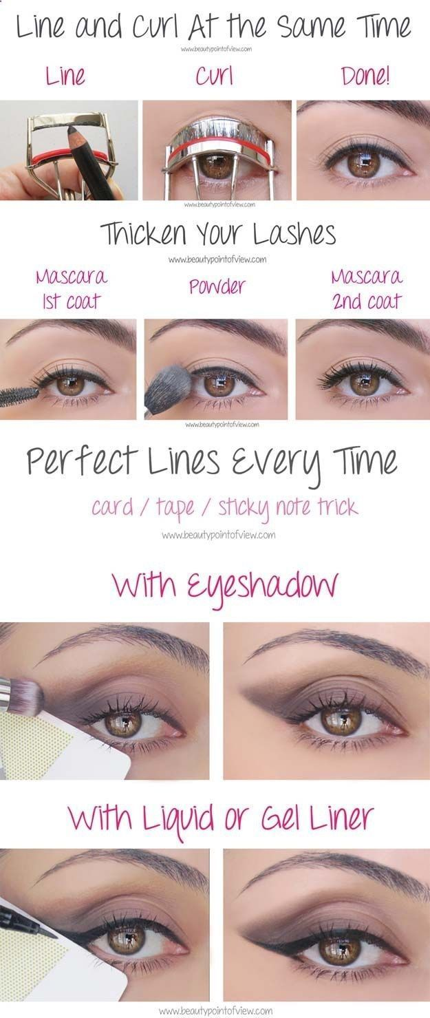 Beauty Hacks for Teens - Eye Makeup Tricks – Must Know - DIY Makeup Tips and Hacks for Skin, Hairstyles, Acne, Bras and Everything in Between - Pictures and Video Tutorials for Girls of All Shapes and Sizes Whether Youre Fit or Want to Lose Weight - Get in Shape for Summer with These Awesome Ideas - thegoddess.com/beauty-hacks-teens #beautyhacksacne