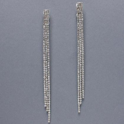 Dangle Clipon Earrings In Silver At Promdress