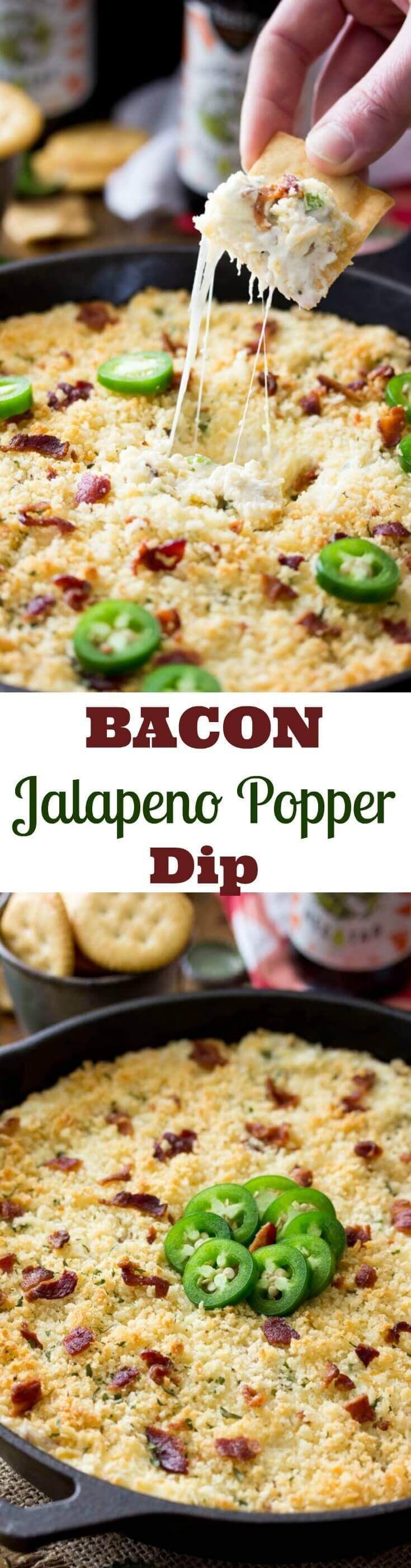 Bacon Jalapeno Popper Dip!  Your new favorite party dip.  || Sugar Spun Run via @sugarsunrun