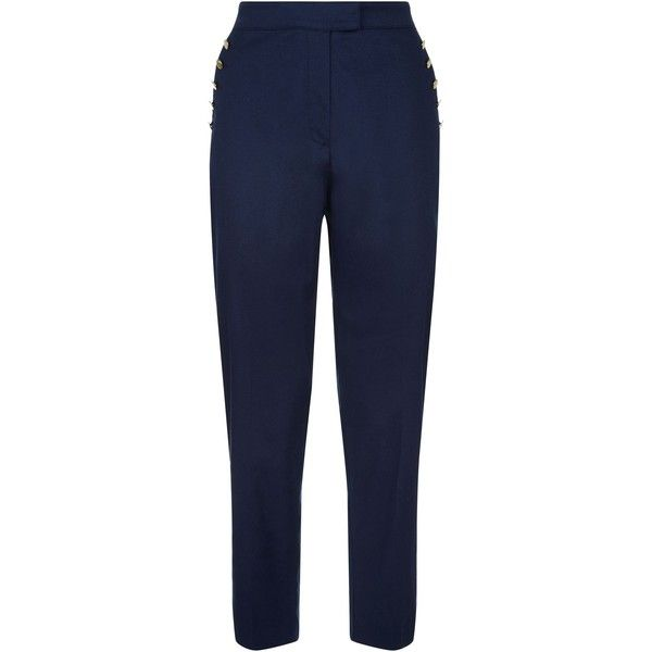 Jaeger Shank Button Chino ($125) ❤ liked on Polyvore featuring pants, capris, women trousers, metallic trousers, relaxed fit pants, chino trousers, retro pants and relaxed pants