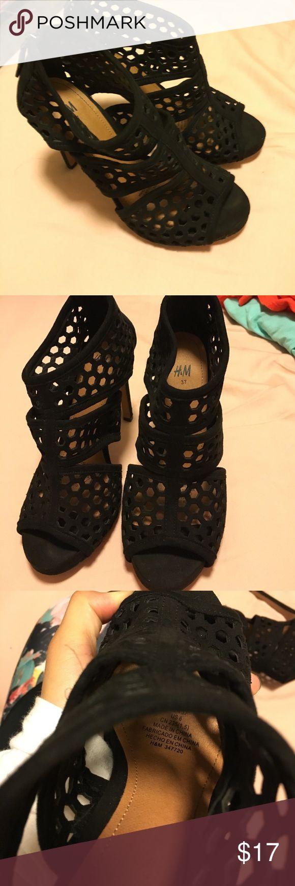 "Black heels Black heels with peep toe, H&M size 6 with a 5"" heel H&M Shoes Heels"