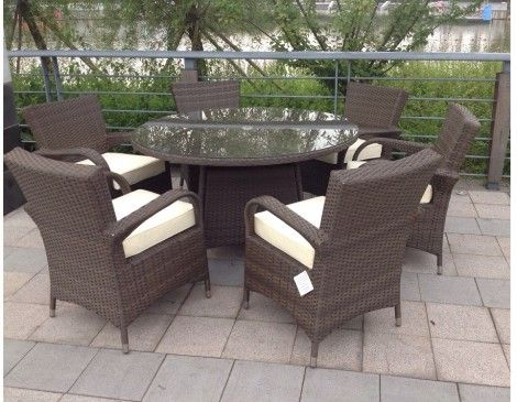 Rattan Garden Furniture Grey modren rattan garden furniture 6 seater texas brown round table