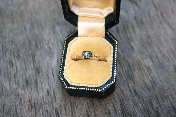 Green Blue Cushion Cut Montana Sapphire Ring by S. Kind & Co.