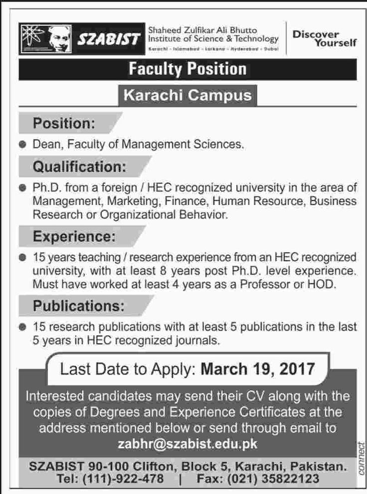 jobs in Shaheed Zulfikar Ali Bhutto Institute Of Science And Technology