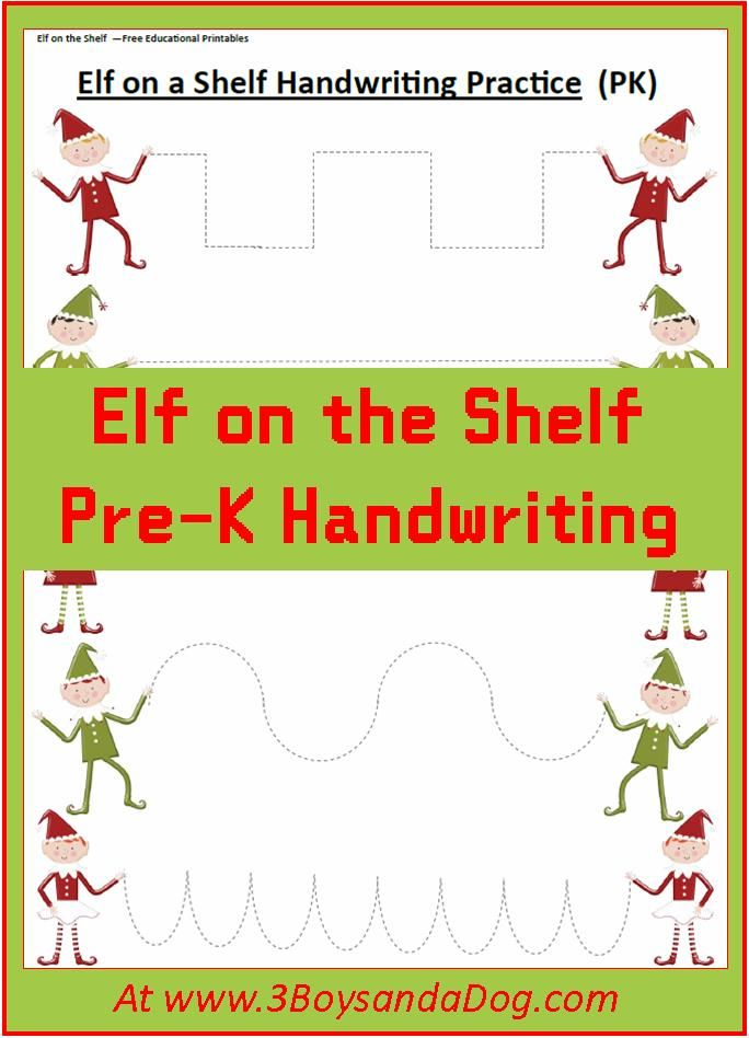 Elf on the Shelf Christmas Handwriting Worksheets for Kids #preschool