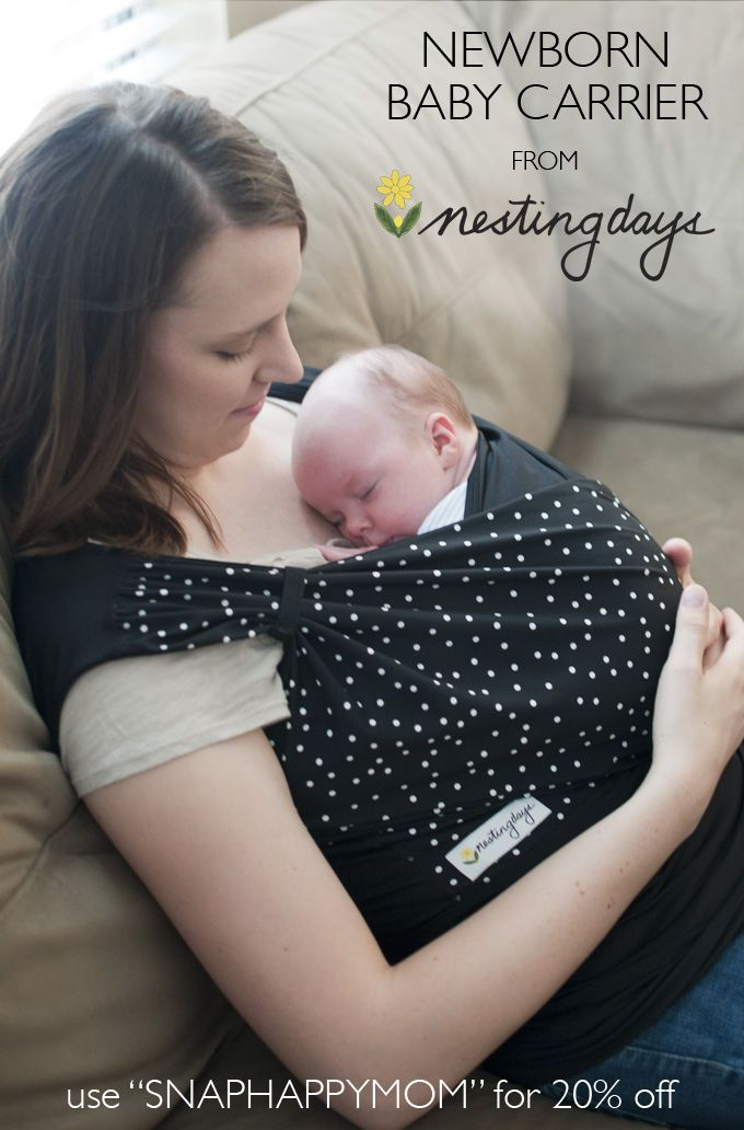 """Win a Newborn Baby Carrier from Nesting Days! (ends 9-24) This is hands-down the best carrier for small babies I've tried. You can also use """"SNAPHAPPYMOM"""" for 20% off! #giveaway"""