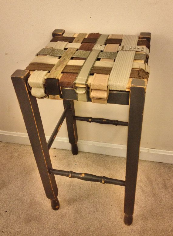Foyer Table With Stools : Rustic counter stool with seat made from vintage belts